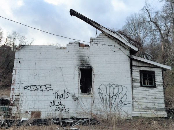 """abandoned house with graffiti """"That's all she wrote"""", Clairton, PA"""