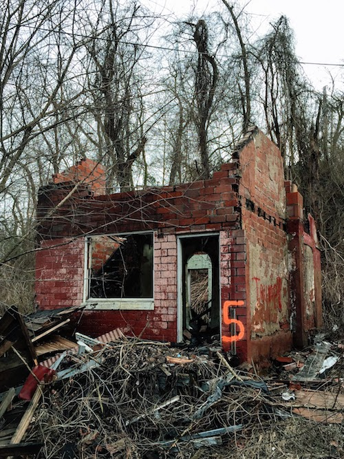 abandoned house with only exterior walls remaining, Clairton, PA