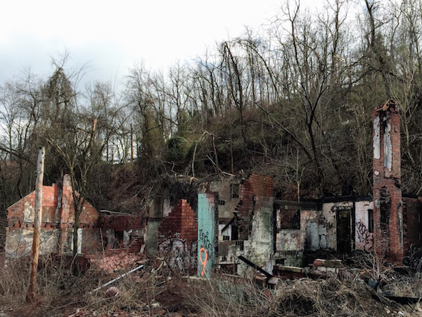 masonry walls from otherwise collapsed houses, Clairton, PA