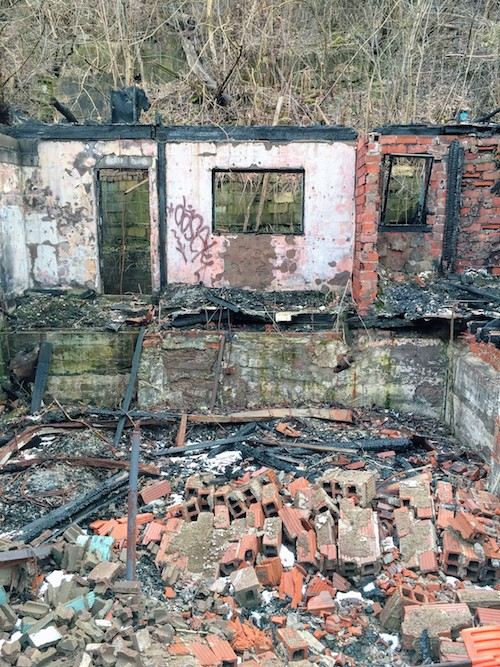 abandoned house with only rear exterior walls still standing, Clairton, PA