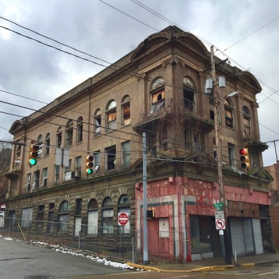three-story late Victorian retail/apartment building, vacant and dilapidated, Monessen, PA