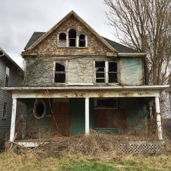 late Victorian wood frame 4-square house, vacant and dilapidated, Monessen, PA