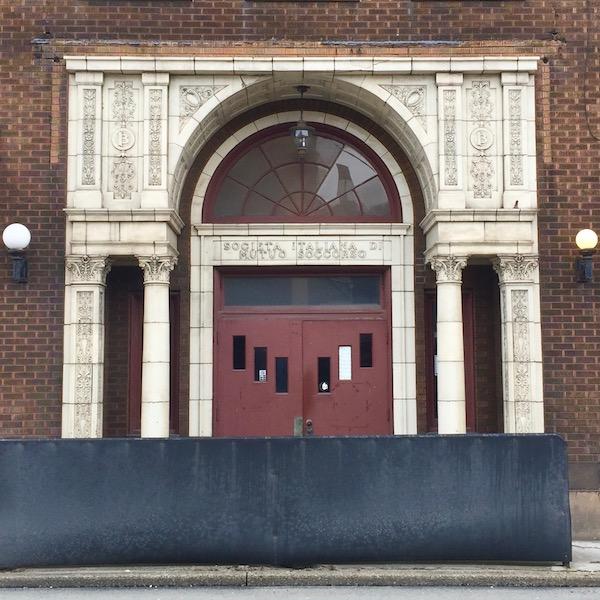 ornate brick and terra cotta entrance way for Societa Italiana Di Mutuo Soccorso club, Monessen, PA