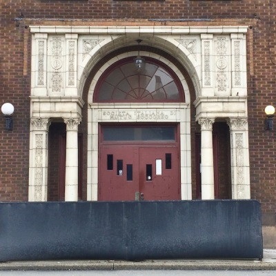 ornate brick and terra cotta entrance way for Societa Italiana Di Mutuo Soccorso club, Monessen, PA