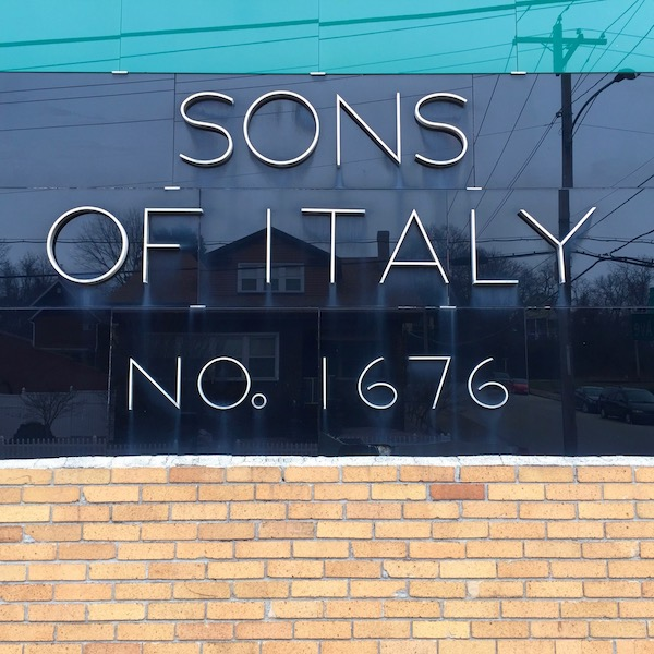 brick and tile facing for Sons of Italy club, Donora, PA