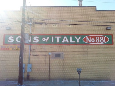 "brick wall with large painted sign ""Sons of Italy No. 881"", New Kensington, PA"