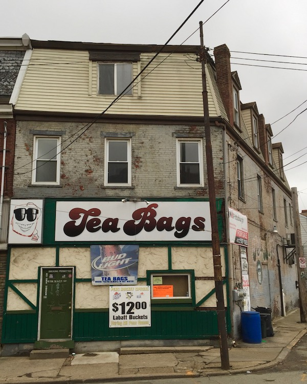 3-story brick building with Tea Bags bar on first floor, Pittsburgh, PA
