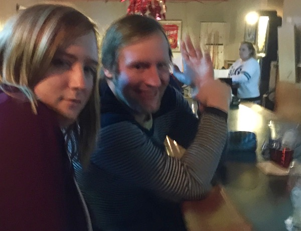 man and woman at bar with bartender looking on, Tea Bags, Pittsburgh, PA