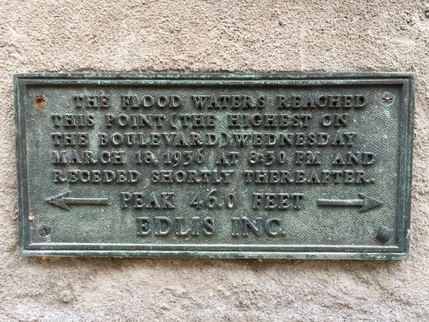 brass marker showing the 46.0 high water mark for the March 18, 1936 flood of downtown Pittsburgh, PA
