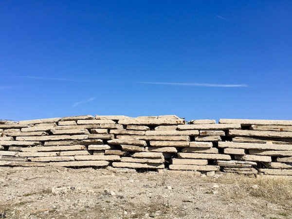 concrete sections of road stacked neatly in a pile, Harmar, PA