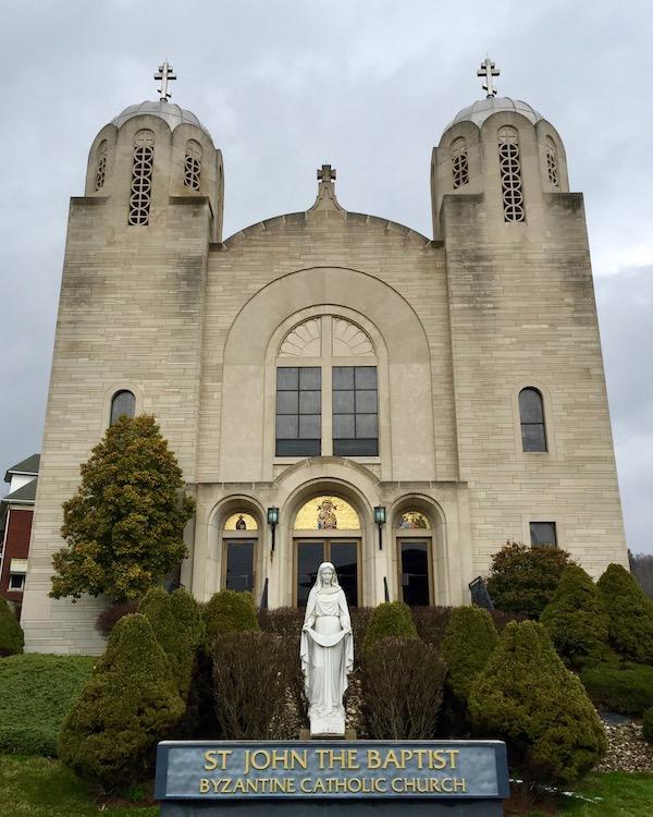 front view of St. John the Baptist Byzantine Catholic Church, Lyndora, PA