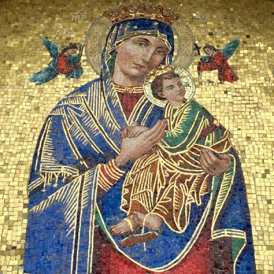 mosaic detail of Mary and baby Jesus, St. John the Baptist Byzantine Catholic Church, Lyndora, PA