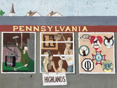 mural detail of train car windows showing man with A-1 Rental equipment, Highlands High School students, fraternal organization logos, Tarentum, PA