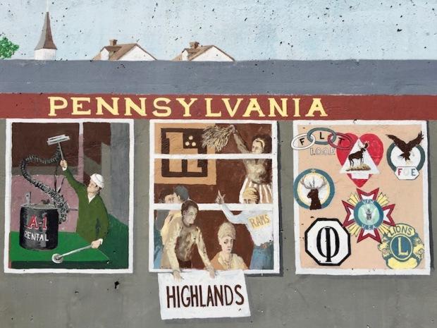 mural detail of train car windows showing man with A-1 Rental equipment, Highlands High School students, fraternal organization logos, Tarentum, PA