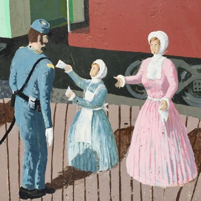 mural detail of Union army soldier with two women in Victorian dress at Tarentum, PA train station