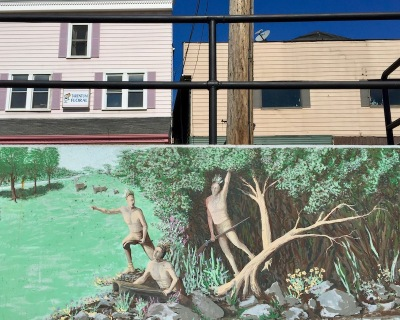mural of native Americans with land that would become Tarentum, PA