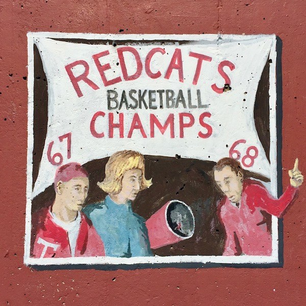 """mural detail of high school students with banner reading """"Redcats basketball champs '67 '68"""", Tarentum, PA"""