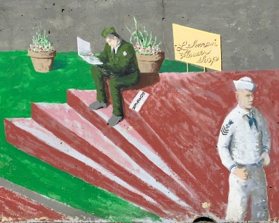 mural detail of soldier reading letter and sailor waiting at Tarentum, PA train station
