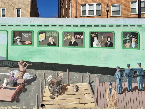 mural of rail car with famous natives of Tarentum, PA