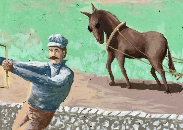 mural detail of 19th century rail worker and draft horse in field, Tarentum, PA