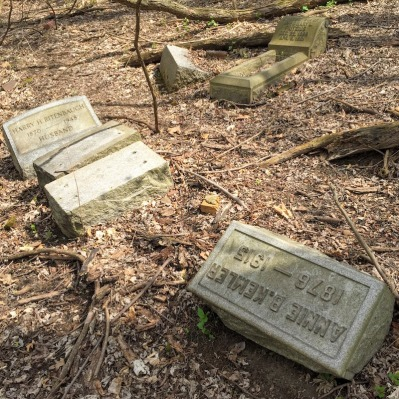 broken gravestones in disordered pile, Pittsburgh, PA