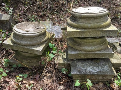 column bases from dismantled mausoleum, Pittsburgh, PA