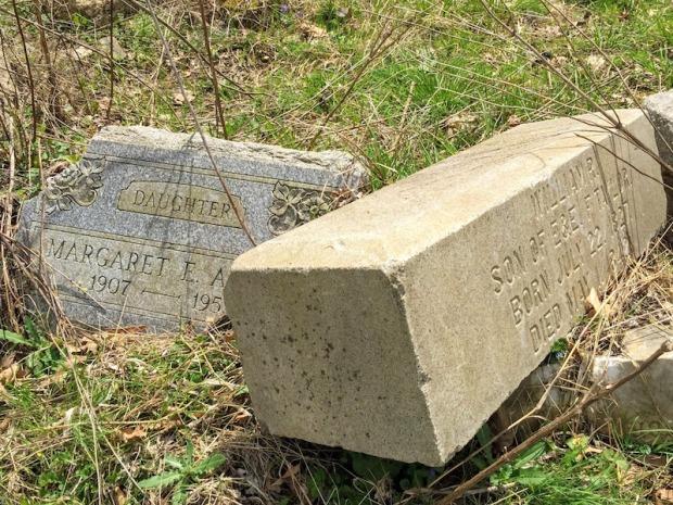 broken gravestones in disordered pile, Pittsburgh, PA