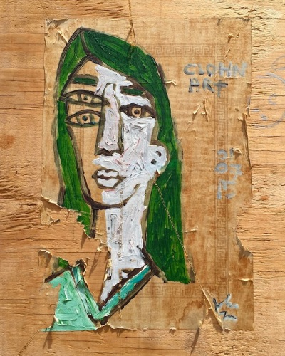 painting of woman with three eyes by Clohn Art, wheatpasted to wood, Pittsburgh, PA