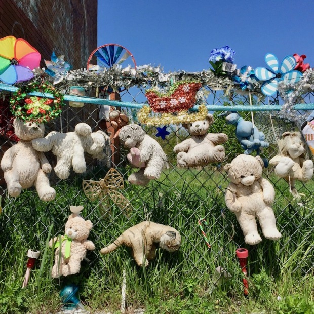 chain link fence decorated with stuffed animals, Pittsburgh, PA