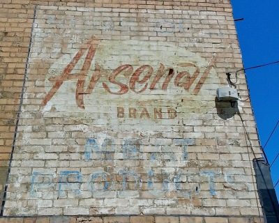 "ghost sign for ""Arsenal Brand Meat Products"" painted on side of brick building, Pittsburgh, PA"