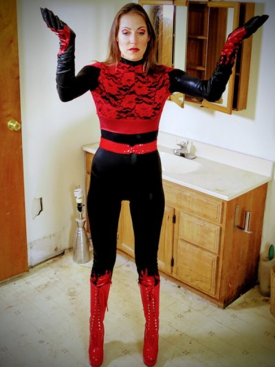 Helena Brent transforms into heroine Hellfyra in the Brillobox bathroom