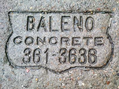 Baleno Concrete sidewalk concrete mason stamp, Pittsburgh, PA