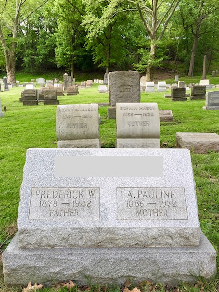 """granite headstone with names for """"father"""" and """"mother"""", Allegheny Cemetery, Pittsburgh, PA"""