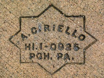 A. Ciriello sidewalk concrete mason stamp, Pittsburgh, PA