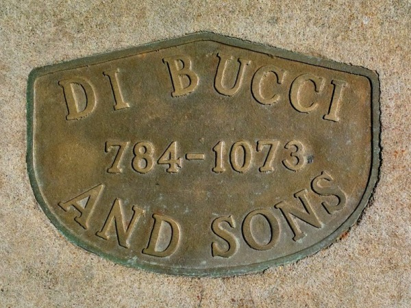 Di Bucci and Sons brass sidewalk plaque, Pittsburgh, PA