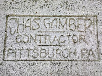 Chas. Gamberi sidewalk concrete mason stamp, Pittsburgh, PA