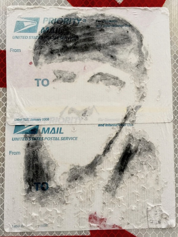 """faded US postal service priority mail sticker with black ink portrait of Moe from the """"Three Stooges"""", Pittsburgh, PA"""
