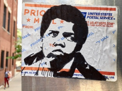 US postal service priority mail sticker with black ink portrait of Gary Coleman, Pittsburgh, PA