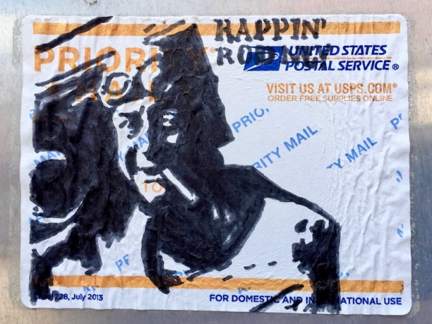 US postal service priority mail sticker with black ink portrait of Rodney Dangerfield, Pittsburgh, PA
