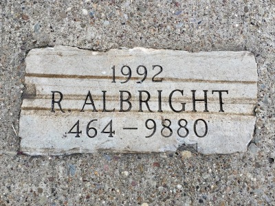 sidewalk mason engraved stone plaque for R. Albright, Pittsburgh, PA