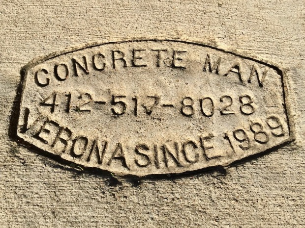sidewalk stamp for Concrete Man, Pittsburgh, PA