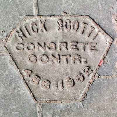 Nick Scotti Concrete Contractor sidewalk concrete mason stamp, Pittsburgh, PA