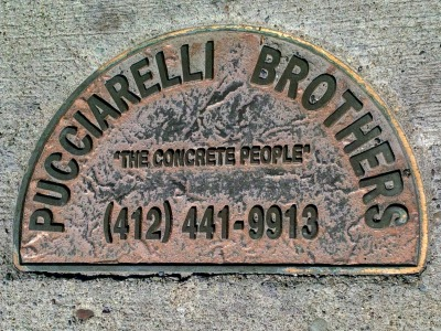 Pucciarelli Brothers brass sidewalk plaque, Pittsburgh, PA