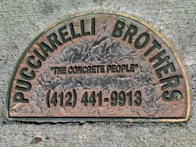 Pucciarelli Brothers brass sidewalk plaque, Pittsburgh, PA
