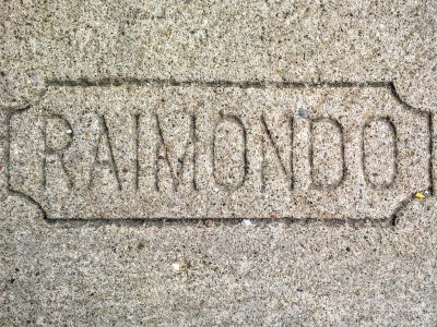 Raimondo sidewalk concrete mason stamp, Pittsburgh, PA