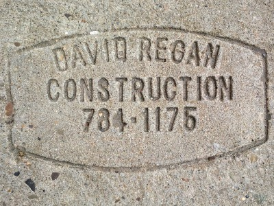 David Regan Construction sidewalk concrete mason stamp, Pittsburgh, PA
