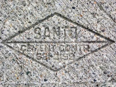 Santo sidewalk concrete mason stamp, Pittsburgh, PA