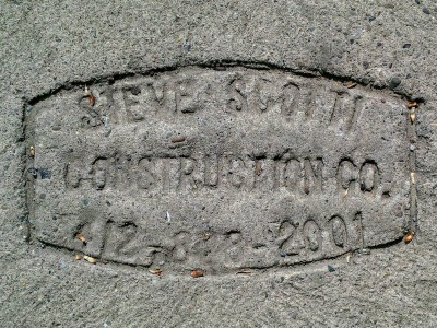 Steve Scotti Construction Company sidewalk concrete mason stamp, Pittsburgh, PA