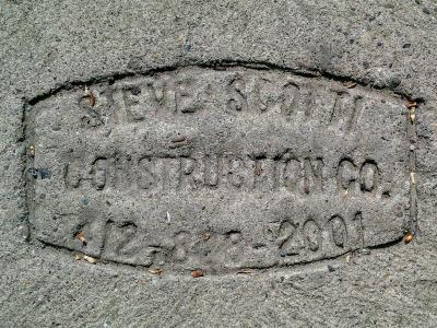 Steve Scotti Construction Company sidewalk concrete mason stamp, Pittsburgh, PA