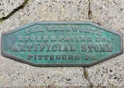 brass sidewalk stamp for The Wadsworth Stone & Paving Co., Pittsburgh, PA